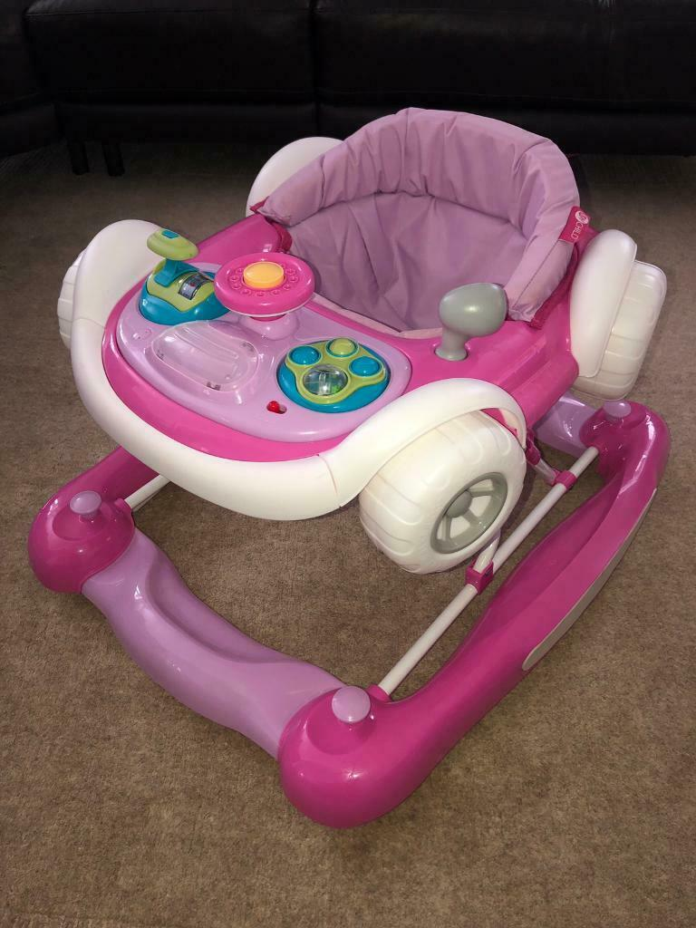 My Child Coupe 2 in 1 Walker Supportive Footpad Detachable Play Tray 6mos Pink