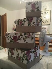 4 x Floral Storage Boxes