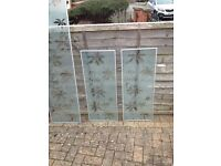 IKEA BILLY BOOKCASE GLASS DOORS GLASS WITH FLOWER PATTERN