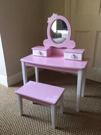 John crane pink and white dressing table and stool