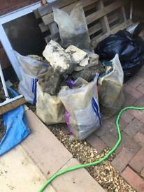 Bagged rubble for hardcore
