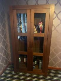 Dark wood display cabinet, class doors