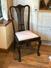 Mahogany side chair newly upholstered in pink toille