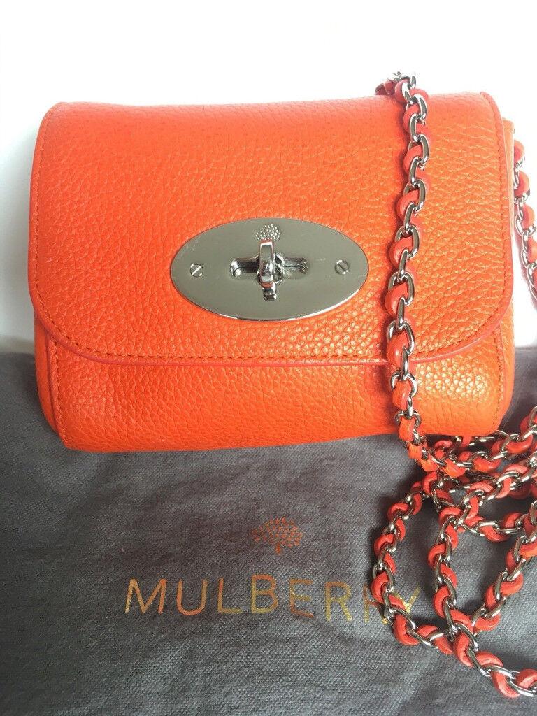 MULBERRY MINI LILY CLASSIC MANDARIN ORANGE-PERFECT  8cbca80bf2ab1