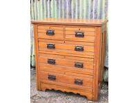 Gorgeous satin walnut antique chest of drawers