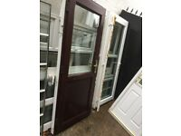 **ROSEWOOD UPVC DOUBLE GLAZED DOOR**COMPLETE WITH FRAME AND KEY**NO OFFERS**GOOD CONDITION**