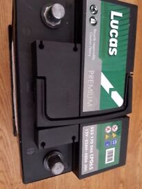 Lucas car battery with receipt and guarantee