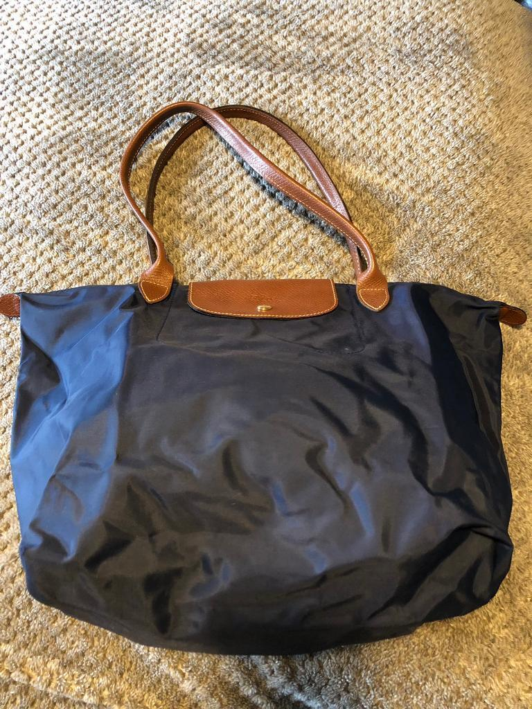 ff7576f9f6be Longchamp Bag Le Pliage Nylon Large Tote Handbag Navy blue with leather  handles
