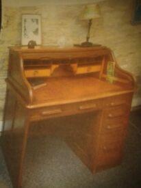 edwardian roll top desk oak origonal key 4 draws pedastal pull out work surface one large draw