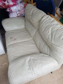 2-3 Seater Faux Leather Cream Sofa