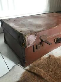 Vintage Brown Suitcase Distressed Battered Aged Patterned Interior Trunk