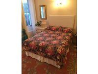 Double bed - divan base, valance, bespoke headboard, mattress and mattress topper - great condition