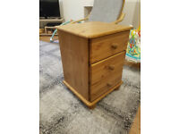 3 Drawer Bedside Pine Table