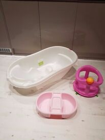 Baby bath, top and tail bowl & bath seat for sale