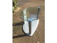 Glass shelved TV table