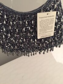 Brand new beaded pearls evening clutch bag