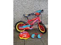 14 Inch Disney Cars (Lightning McQueen) Child's Bike, Stabilisers and Helmet