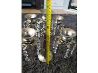 Silver 5 tier candleabras with Crystal droplets