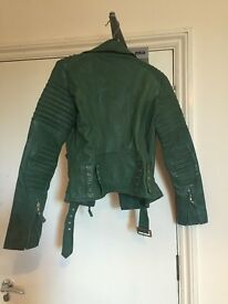 Stunning green Leather biker jacket size 8