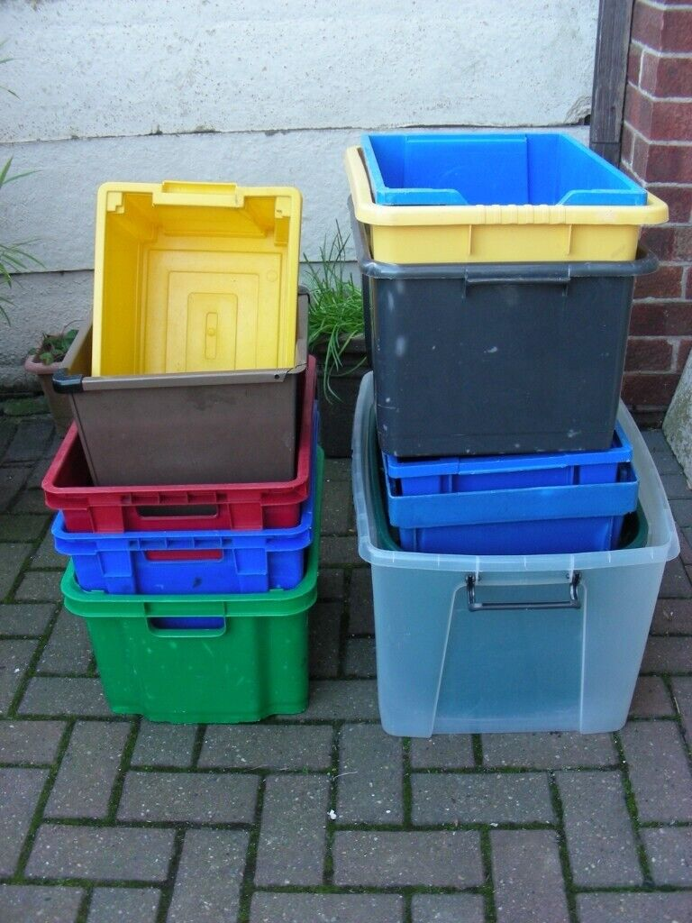 12 Plastic Storage Boxes Various Garage Utility Containers ...