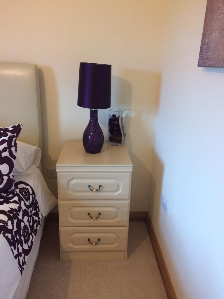2 Cream bedside cabinets and matching dressing table, stool and mirror