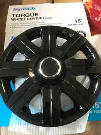 "Black Wheel Covers 15"" set of 4"