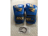 RDX leather Boxing Gloves (Blue&Gold)