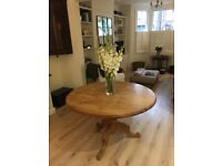 Table, round pine dining table