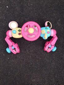 Universal buggy/pushchair steering wheel toy