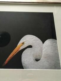 Framed picture of a heron