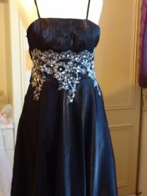 Stunning NEW (has tags ) Black Floor length Evening dress with Glorious waist embellishment,12-14