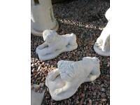 Concrete Pug Dogs Garden Ornament
