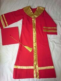Children's graduation gown with hood & tassle