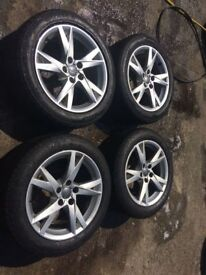 """17"""" Genuine Audi A4 Sport Alloy Wheels & Tyres Silver 225/50R17 Tyres 5x112 Fits Transporter T4 A6"""