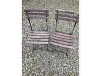 Pair of Folding Patio Garden Chairs. Metal & Wood