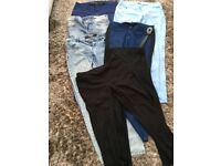 5 pairs of ladies jeans size 12, dark blue, stonewash, light blue, 2 pairs black leggings. VGC