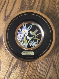 """Chokin ART Humming Bird Black 24KT Gold miniature Plate 4"""" diameter"""