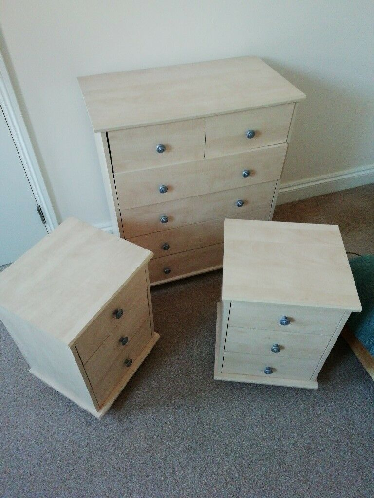 Chest of drawers and 2 matching smaller set of drawers