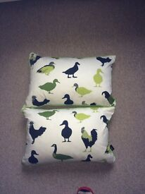 NEVER USED two cushions with bird print