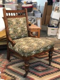 Antique Upholstered Carved & Crafted Nursing Chair