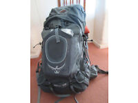 Ospey Xenith 105 litre grey rucksack (medium) with Osprey ultralight large raincover