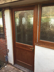 Solid wood and glazed external door + fittings - ready to collect from EX12 3AQ