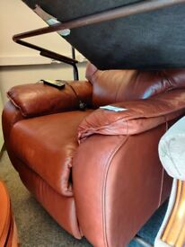 Light brown leather electric reclining armchair