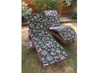 Wooden loungers x 2 with cushions