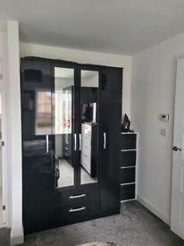 4 door black gloss wardrobe