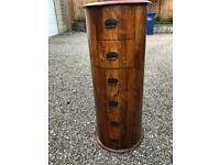 Drum / Oval Sheesham wood tall chest of drawers