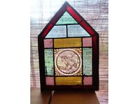 Antique stained glass leaded light