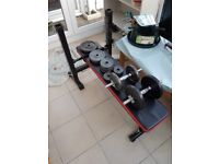 Weight Bench and 37kg of Weight including dumbells