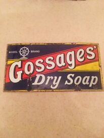 Original 1930s Gossages Dry Soap Enamel sign for placing on a wall/in a mancave