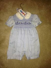Brand new with tags Boys smocked romper Spanish style